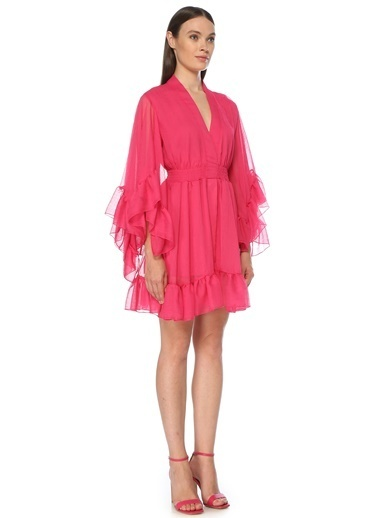 NetWork Kadın 1075571 Desen Mini Elbise Fuşya